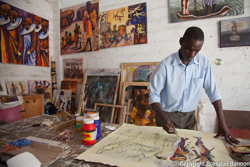 "Tom Mboya, worked in hotels for 9 years before quitting to follow his dream of being a painter. Times are hard he says, ""no one of us can say we are in this to make good money."""