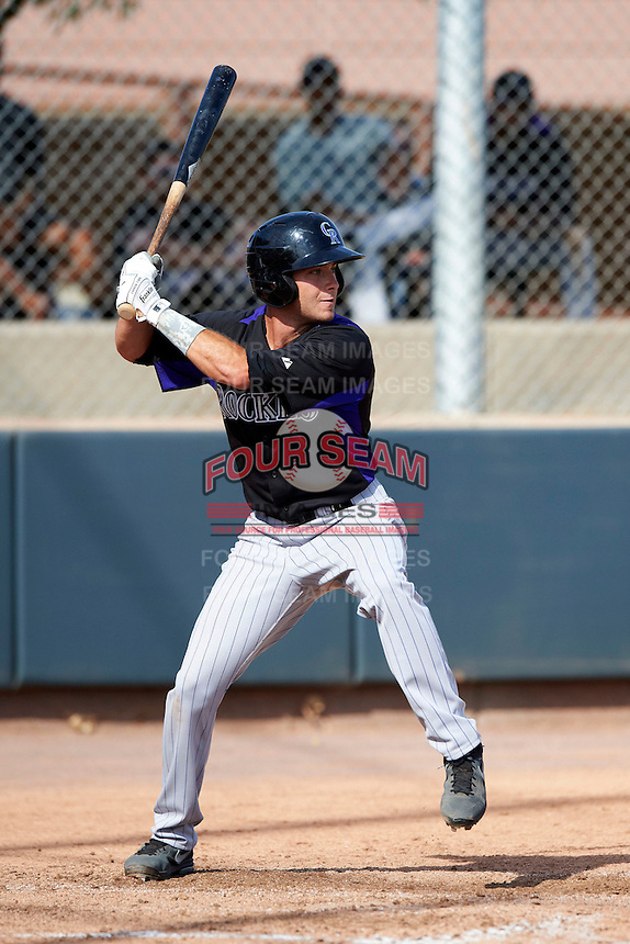 Colorado Rockies minor league infielder Taylor Featherstone #73 during an instructional league game against the San Francisco Giants at the Salt River Flats Complex on October 4, 2012 in Scottsdale, Arizona.  (Mike Janes/Four Seam Images)