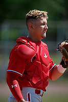 Philadelphia Phillies catcher Andrick Nava (10) during practice before an exhibition game against the Canada Junior National Team on March 12, 2020 at Baseball City in St. Petersburg, Florida.  (Mike Janes/Four Seam Images)