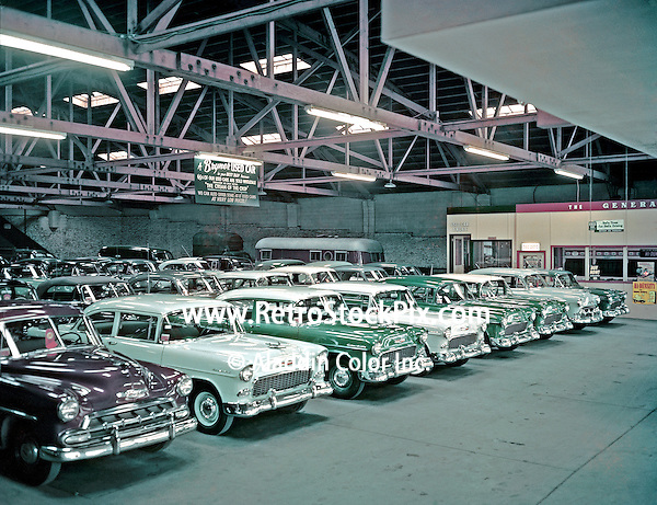 Retro Car Dealership Showroom With 1959 Cars For Sale