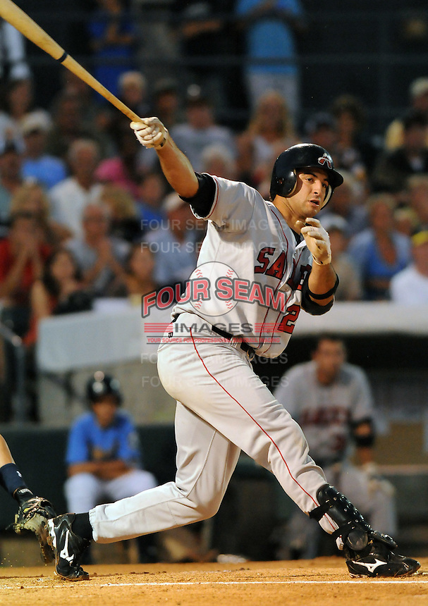 July 11, 2008: Mark Ori of the Salem Avalanche, Class A affiliate of the Houston Astros, in a game against the Myrtle Beach Pelicans at BB&T Coastal Field in Myrtle Beach, S.C. Photo by:  Tom Priddy/Four Seam Images