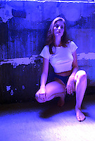 Fashion shot, model, woman tinted blue, special effects.