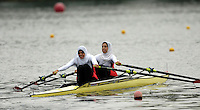 Poznan, POLAND.  2006, FISA, Rowing, World Cup, EGY LW2X  bow Ola AHMEND and Manal MAHOUD, move  away from  the  start, on the Malta  Lake. Regatta Course, Poznan, Thurs. 15.05.2006. © Peter Spurrier   ..[Mandatory Credit Peter Spurrier/ Intersport Images] Rowing Course:Malta Rowing Course, Poznan, POLAND