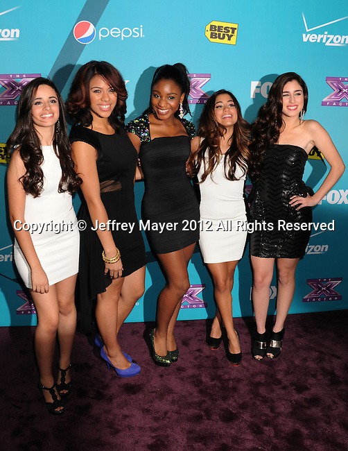 LOS ANGELES, CA - NOVEMBER 05: Ally Brooke, Camila Cabello, Normani Hamilton, Dinah Jane Hansen and Lauren Jauregui of 1432 arrive at FOX's 'The X Factor' finalists party at The Bazaar at the SLS Hotel Beverly Hills on November 5, 2012 in Los Angeles, California.
