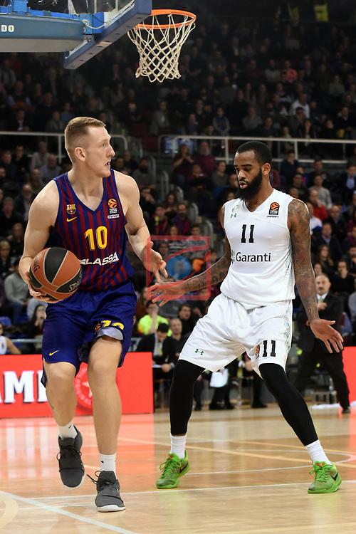 Turkish Airlines Euroleague 2018/2019. <br /> Regular Season-Round 16.<br /> FC Barcelona Lassa vs Darussafaka Tekfen Istanbul: 97-65.<br /> Rolands Smits vs Stanton Kidd.