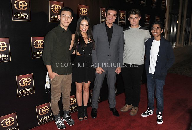 WWW.ACEPIXS.COM<br /> <br /> January 7 2015, LA<br /> <br />  (L to R) Actors Ryan Potter and Janel Parrish, event producer George Caceres and actors Garrett Clayton and Karan Brar attending 'The Celebrity Experience Panel' event at the Hilton Universal Hotel on January 7, 2015 in Los Angeles, California. <br /> <br /> <br /> By Line: Peter West/ACE Pictures<br /> <br /> <br /> ACE Pictures, Inc.<br /> tel: 646 769 0430<br /> Email: info@acepixs.com<br /> www.acepixs.com