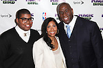 "Magic Johnson & family pictured at the ""Magic/Bird"" Opening Night Arrivals at the Longacre Theatre in New York City on April 11, 2012 © Walter McBride / WM Photography  Ltd."