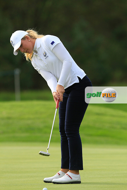 Linnea Strom (SWE) on the 9th hole of the Mixed Fourballs, puts to go two up during the 2014 JUNIOR RYDER CUP at the Blairgowrie Golf Club, Perthshire, Scotland. <br /> Picture:  Thos Caffrey / www.golffile.ie