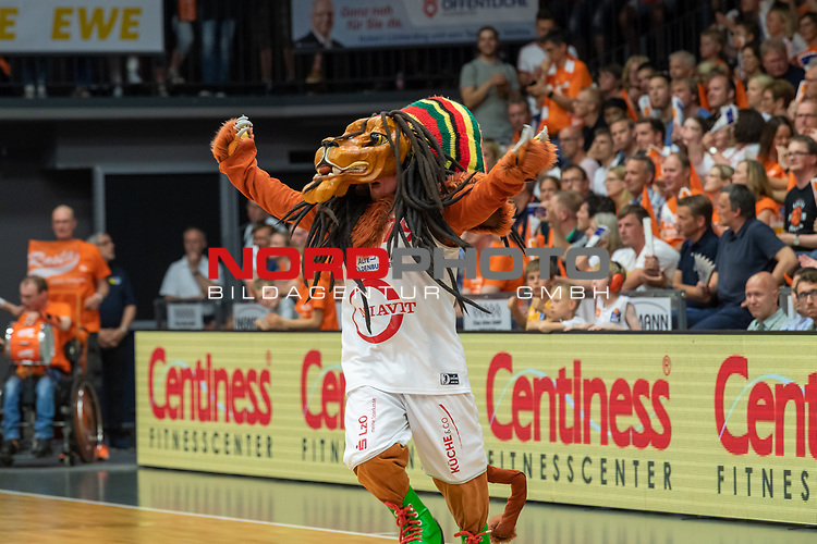 04.06.2019, RASTA Dome 2.0, VECHTA, GER, easycredit-bbl, PlayOff 02 HF, RASTA Vechta vs  FC Bayern Muenchen, im Bild<br /> <br /> Bob der Loewe ( Maskottchen RASTA)<br /> <br /> Foto © nordphoto / Kokenge