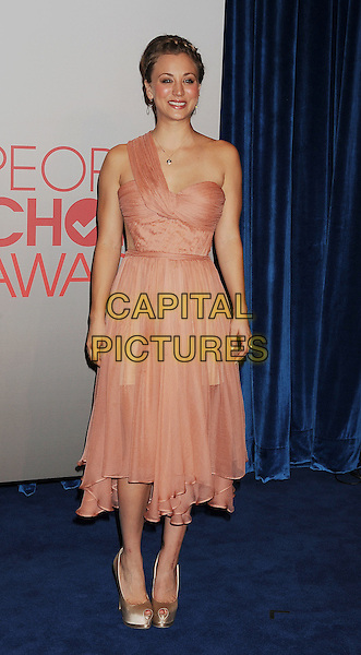 Kaley Cuoco.People's Choice Awards 2012 Nominees Announcement Held At The Paley Center for Media, Beverly Hills, California, USA..November 8th, 2011.full length dress pink one shoulder dress  .CAP/ROT/TM.© TM/Roth/Capital Pictures