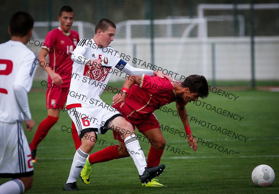 Fudbal Soccer<br /> International Friendly-Prijateljski mec<br /> Srbija U17 v Belorusiaj U17<br /> Stefan Stankovic (R) and Maksim Miakish<br /> Stara Pazova, 20.09.2016<br /> foto: Srdjan Stevanovic/Starsportphoto &copy;