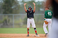 Edgewood Eagles center fielder Bryan Sternig (1) during a game against the Babson Beavers on March 18, 2019 at Lee County Player Development Complex in Fort Myers, Florida.  Babson defeated Edgewood 23-7.  (Mike Janes/Four Seam Images)
