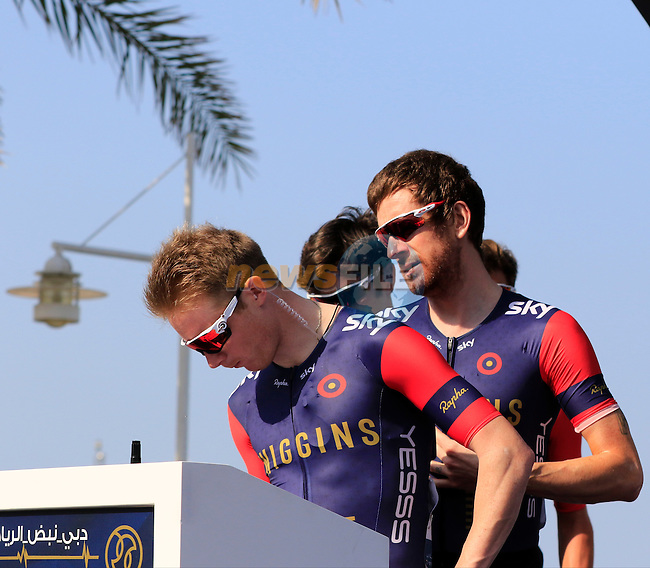 Sir Bradley Wiggins (GBR) and his Team Wiggins sign on before the start of Stage 2, the Nakheel Stage, of the 2016 Dubai Tour starting at the Dubai International Marine Club and running 188km to Palm Jumeirah Atlantis, Dubai, United Arab Emirates. 4th February 2016.<br /> Picture: Eoin Clarke | Newsfile<br /> <br /> <br /> All photos usage must carry mandatory copyright credit (&copy; Newsfile | Eoin Clarke)