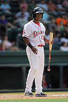 Designated hitter Rafael Devers (13) of the Greenville Drive in a game against the Hagerstorn Suns on Thursday, May 7, 2015, at Fluor Field at the West End in Greenville, South Carolina. Devers is the No. 6 prospect of the Boston Red Sox, according to Baseball America. Greenville won, 4-0. (Tom Priddy/Four Seam Images)