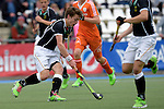 GER - Mannheim, Germany, May 16: During the whitsun tournament boys hockey match between Germany (black) and The Netherlands (orange) on May 16, 2016 at Mannheimer HC in Mannheim, Germany. Final score 4-3 (HT 2-0). (Photo by Dirk Markgraf / www.265-images.com) *** Local caption *** Maximilian Siegburg #15 of Germany (U16)