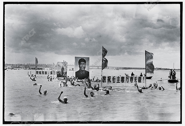 People in the Songhua River commemorate the one-year anniversary of Mao's swim in the Yangtze, which marked his return to power at the outbreak of the Cultural Revolution. Harbin, 16 July 1967