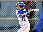 BROOKINGS, SD - APRIL 3:  Alyssa D'Agostino from South Dakota State rips a home run against Nebraska Omaha Friday afternoon in Brookings. (Photo by Dave Eggen/Inertia)