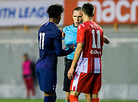 6th November 2019; Vozdovac Stadium, Belgrade, Serbia; UEFA Under 19 UEFA Youth league football, FK Crvena Zvezda under 19s versus Tottenham Hotspur under 19s; The referee talks to J'Nell Bennett of Tottenham Hotspurs FC and Ilija Babic of FK Crvena Zvezda