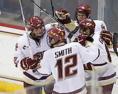 Brian Dumoulin (BC - 2), Ben Smith (BC - 12), Paul Carey (BC - 22), Brian Gibbons (BC - 17) - The Boston College Eagles defeated the Northeastern University Huskies 5-1 on Saturday, November 7, 2009, at Conte Forum in Chestnut Hill, Massachusetts.
