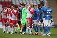 Players shake hands during Stevenage vs Peterborough United, Emirates FA Cup Football at the Lamex Stadium on 9th November 2019