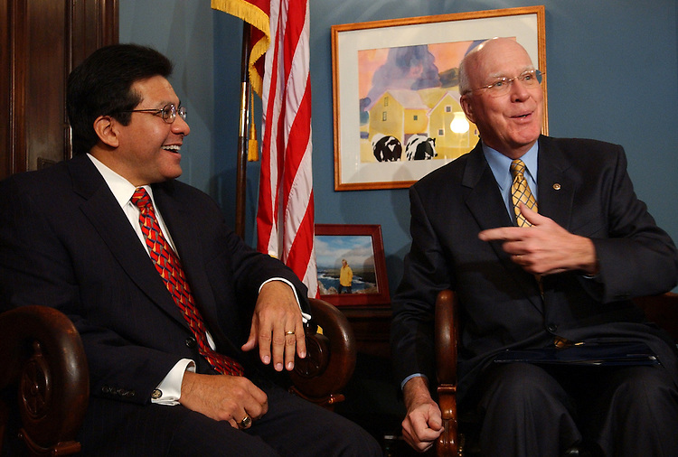Sen. Patrick Leahy, D-Vt., right, meets with Attorney General nominee Alberto Gonzales, Wednesday, in the Senator's office.