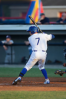 Nathan Esposito (7) of the Burlington Royals at bat against the Princeton Rays at Burlington Athletic Stadium on June 24, 2016 in Burlington, North Carolina.  The Rays defeated the Royals 16-2.  (Brian Westerholt/Four Seam Images)