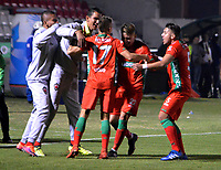 TUNJA-COLOMBIA, 25-03-2019: Los jugadores Patriotas Boyacá, celebran el gol anotado a La Equidad, durante partido entre Patriotas Boyacá y La Equidad, de la fecha 11 por la Liga de Águila I 2019 en el estadio La Independencia en la ciudad de Tunja. / The players of Patriotas Boyaca, celebrate a scored goal to La Equidad, during a match between Patriotas Boyaca and La Equidad, of the date 11th for the  Aguila Leguaje I 2019 at La Independencia stadium in Tunja city. Photo: VizzorImage / José Miguel Palencia / Cont.