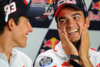 Repsol Honda riders Marc Marquez and Dani Pedrosa at the 2013 Red Bull Indianapolis Moto Grand Prix at Indianapolis Motor Speedway.