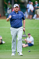 Shane Lowry (IRL) reacts to sinking his birdie putt on 4 during Friday's round 2 of the PGA Championship at the Quail Hollow Club in Charlotte, North Carolina. 8/11/2017.<br /> Picture: Golffile | Ken Murray<br /> <br /> <br /> All photo usage must carry mandatory copyright credit (&copy; Golffile | Ken Murray)