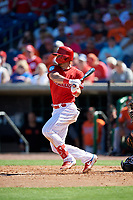 Philadelphia Phillies designated hitter Lane Adams (18) follows through on a swing during a Grapefruit League Spring Training game against the Baltimore Orioles on February 28, 2019 at Spectrum Field in Clearwater, Florida.  Orioles tied the Phillies 5-5.  (Mike Janes/Four Seam Images)