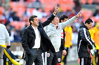 D.C. United head coach Ben Olsen with assistant coach Chad Ashton during the game. The Columbus Crew defeated D.C. United 2-1 ,at RFK Stadium, Saturday March 23,2013.