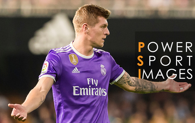 Toni Kroos of Real Madrid reacts during their La Liga match between Valencia CF and Real Madrid at the Estadio de Mestalla on 22 February 2017 in Valencia, Spain. Photo by Maria Jose Segovia Carmona / Power Sport Images