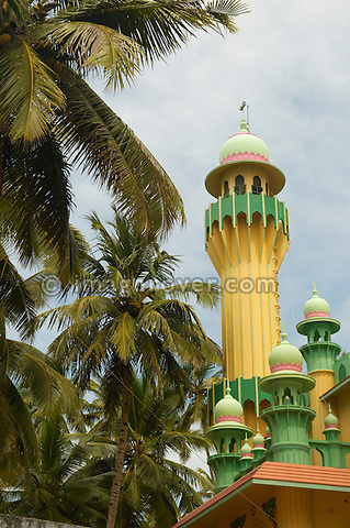 India, Kerala, Varkala Beach. Mosque on the northwards coastal path. No releases available.