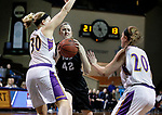 SIOUX FALLS, SD: MARCH 21:  Megan Smith #42 of Indiana (PA) drives between Andi Daugherty #30 and Maddie Dackin #20 of Ashland during their game at the 2018 Division II Women's Basketball Championship at the Sanford Pentagon in Sioux Falls, S.D. (Photo by Dick Carlson/Inertia)