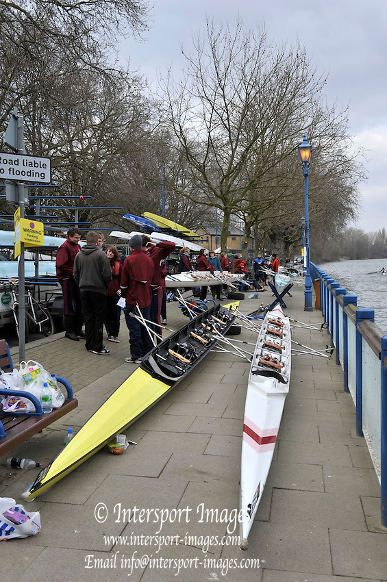 Chiswick. Great Britain, General Views,  Putney Enbankment/Hard,  Crews boating before the 2010 Schools Head of the River Race. Chiswick to Putney on the Championship Course, River Thames, London,  Thursday   11/03/2010 [Mandatory Credit. Peter Spurrier/Intersport Images]