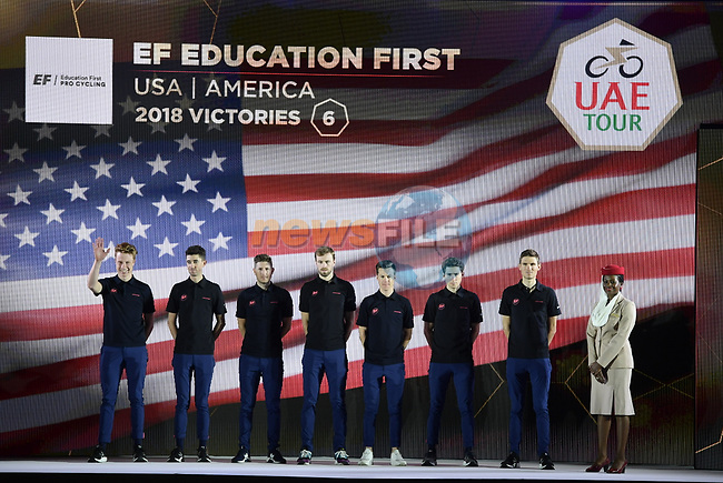 EF Education First team on stage at the inaugural UAE Tour 2019 opening ceremony and team presentation held in the Louvre Abu Dhabi, United Arab Emirates. 23rd February 2019.<br /> Picture: LaPresse/Fabio Ferrari | Cyclefile<br /> <br /> <br /> All photos usage must carry mandatory copyright credit (© Cyclefile | LaPresse/Fabio Ferrari)