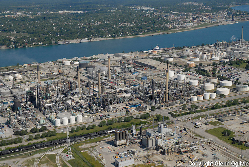 Aerial view of Chemical Valley for Fred Oliver of Kelgor. Pilot Jason Brent of Huron Flight Centre.
