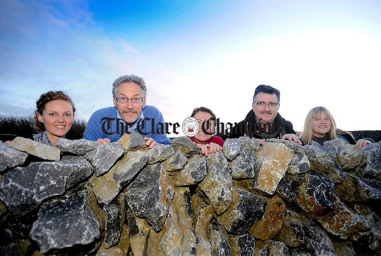 L-R Emer McCarthy, Clare County Council Burren Connect, Gordon Darcy, Zena Hoctor, John Murphy and Anne O'Connor, Burren Beo, launching Burren Beo at the Michael Cusack Centre in Carron.Pic Arthur Ellis.