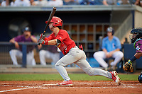 Palm Beach Cardinals shortstop Kramer Robertson (3) follows through on a swing during a game against the Charlotte Stone Crabs on April 21, 2018 at Charlotte Sports Park in Port Charlotte, Florida.  Charlotte defeated Palm Beach 5-2.  (Mike Janes/Four Seam Images)