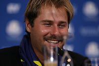 Victor Dubuisson (EUR) during the final European Team Press Conference after Sunday's Singles at the 2014 Ryder Cup from Gleneagles, Perthshire, Scotland. Picture:  David Lloyd / www.golffile.ie