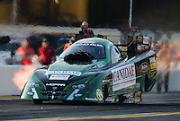 Oct. 5, 2012; Mohnton, PA, USA: NHRA funny car driver Todd Lesenko during qualifying for the Auto Plus Nationals at Maple Grove Raceway. Mandatory Credit: Mark J. Rebilas-