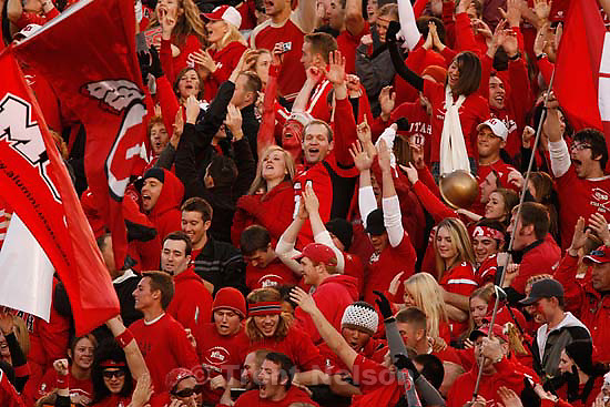 Salt Lake City - . Utah vs. BYU college football Saturday, November 22, 2008 at Rice-Eccles Stadium.  Saturday November 22, 2008. utah fans