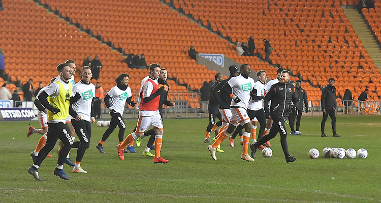 Blackpool players warm up<br /> <br /> Photographer Dave Howarth/CameraSport<br /> <br /> The EFL Sky Bet League One - Blackpool v Doncaster Rovers - Tuesday 12th March 2019 - Bloomfield Road - Blackpool<br /> <br /> World Copyright © 2019 CameraSport. All rights reserved. 43 Linden Ave. Countesthorpe. Leicester. England. LE8 5PG - Tel: +44 (0) 116 277 4147 - admin@camerasport.com - www.camerasport.com