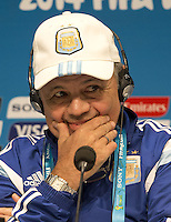Argentina coach Alejandro Sabella looks thoughtful during the press conference