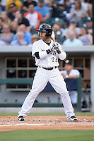 Leury Garcia (24) of the Charlotte Knights at bat against the Indianapolis Indians at BB&T BallPark on June 17, 2016 in Charlotte, North Carolina.  The Knights defeated the Indians 4-0.  (Brian Westerholt/Four Seam Images)