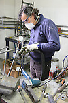 Paolo works on a steel frame on the shop floor of the Tommasini factory based in Grosseto, Tuscany, Italy 6th March 2017.<br /> Picture: Eoin Clarke | Newsfile<br /> <br /> <br /> All photos usage must carry mandatory copyright credit (&copy; Newsfile | Eoin Clarke)