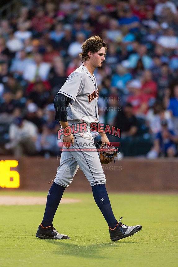 AFL East starting pitcher Forrest Whitley (11), of the Scottsdale Scorpions and the Houston Astros organization, walks off the field between innings of the Fall Stars game at Surprise Stadium on November 3, 2018 in Surprise, Arizona. The AFL West defeated the AFL East 7-6 . (Zachary Lucy/Four Seam Images)