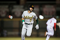 Mesa Solar Sox left fielder Luis Barrera (7), of the Oakland Athletics organization, hustles around the bases for an inside-the-park home run during an Arizona Fall League game against the Scottsdale Scorpions on October 9, 2018 at Scottsdale Stadium in Scottsdale, Arizona. The Solar Sox defeated the Scorpions 4-3. (Zachary Lucy/Four Seam Images)
