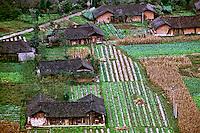 Propriedades com campos de horticultura na província de Sichuan, China. 1994. Foto de Nair Benedicto.