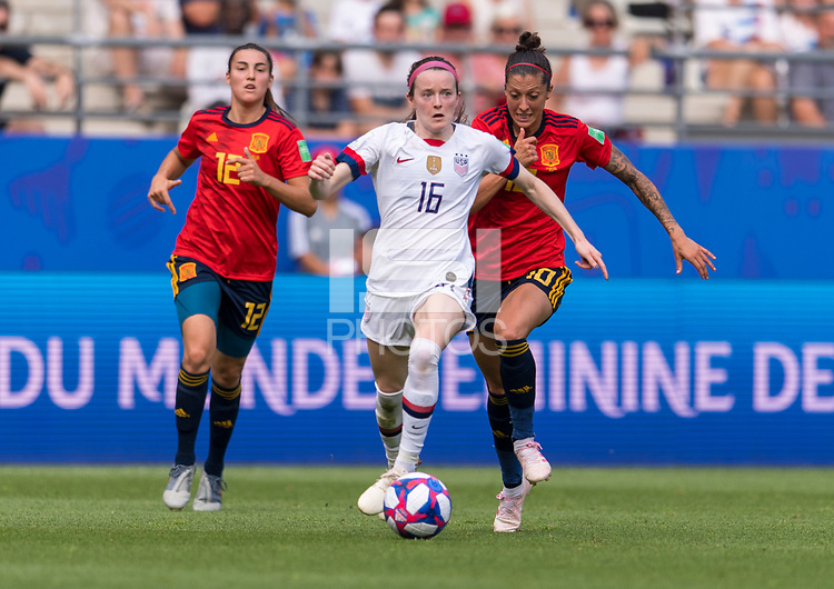 REIMS,  - JUNE 24: Rose Lavelle #16 dribbles during a game between NT v Spain and  at Stade Auguste Delaune on June 24, 2019 in Reims, France.